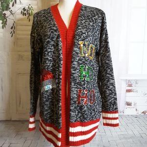3/$30 NOBO Holiday cardigan grey red white size M